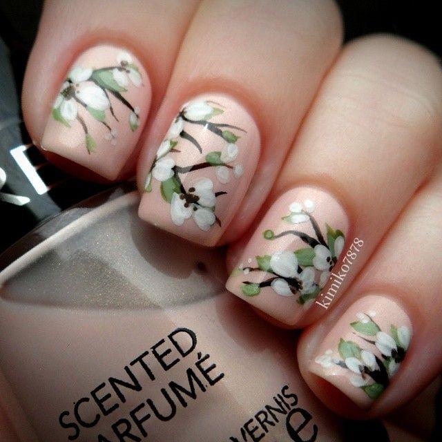 Floral nail art with pale peach background! Hand painted by Kim. Instagram photo by @Kim Oak-Topolnitsky via ink361.com