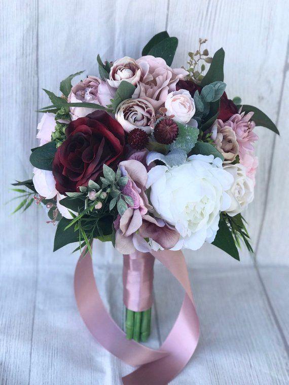 Dusty rose Bouquet, erröten und Dusty Pink Bouquet, lila und Bordeaux Blumenstrauß, Brautstrauß, erröten und Burgund Bouquet, Boho Strauß