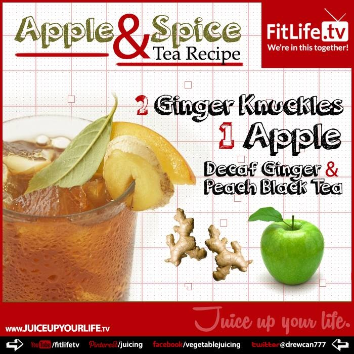 ... ginger and apple, add to steeped tea and cooled tea, serve over ice