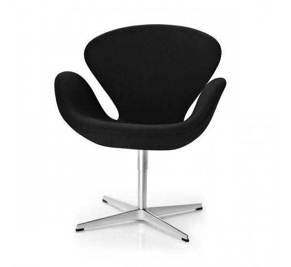 Leather swivel armchair Swan