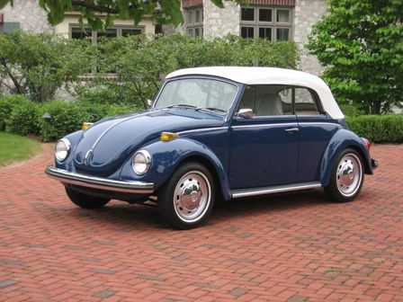 1971 Blue VW Super Beetle Convertible with white top. My
