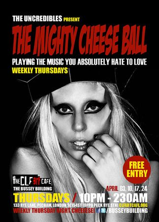 The Mighty Cheeseball Playing at The CLF Art Cafe AKA The Bussey Building on 3-04-2014 at 22:30 - 02:30, The Uncredibles drop in for their weekly free entry Mighty Cheeseball session. Price: Free, Artists: The Uncredibles.