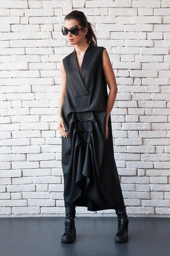NUOVO nero Maxi Dress/asimmetrica senza maniche Kaftan/lungo abito sciolto/V collo nero vestito/Casual drappeggiato abito/Plus Size nero lungo abito tunica