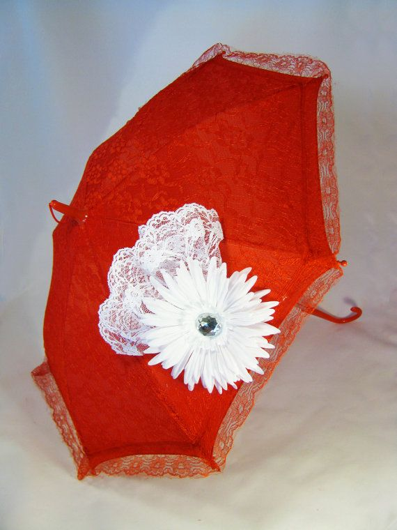 models+with+parasols | Sun Parasol - Lace Umbrella - Girls Red Sun Umbrella with White Daisy ...