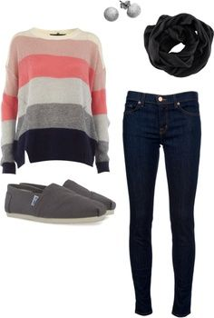 take away the TOMS and add your short brown boots.. LOVE. brown and Navy are good combos