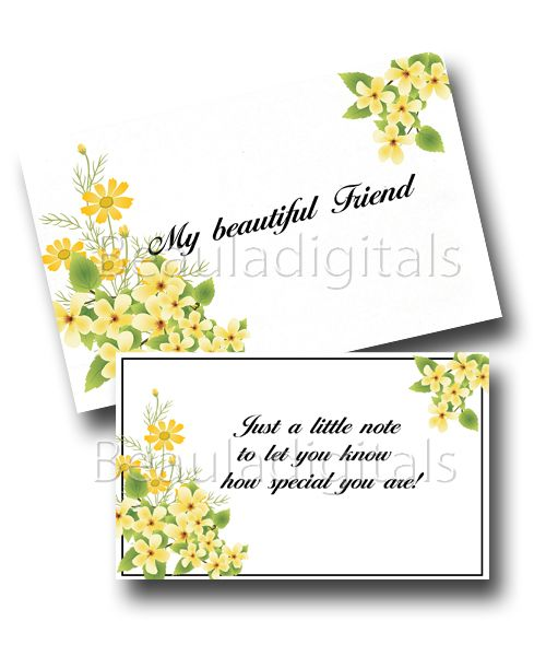 My Beautiful Friend Card and Envelope.  Printable Download Template Give to someone special