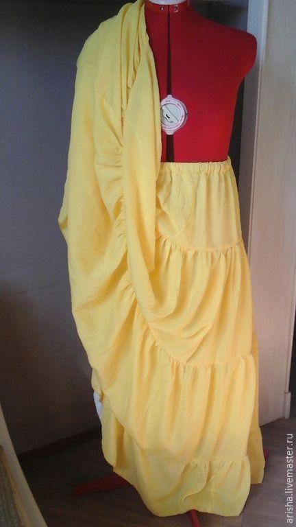 Купить Женская юбка желтая - одежда, юбочка, юбка длинная, Юбка объемная, ярусная юбка