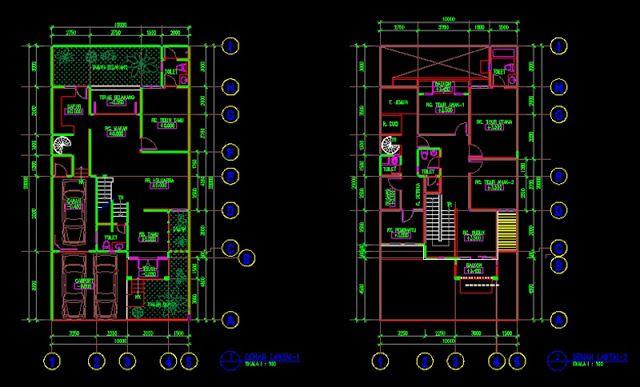 Desain Rumah 2 Lantai Dwg  gambar kerja desain rumah tinggal 10x12m file dwg desain