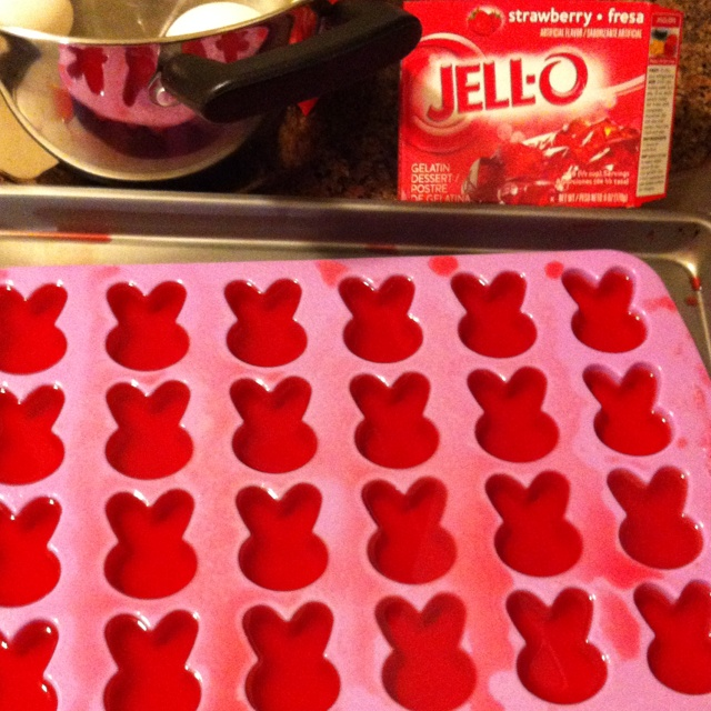Silicone ice cube tray used for Jello mold! Perfect shaped Easter bunnies.