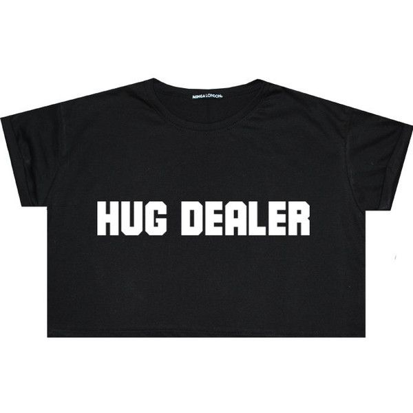 Hug Dealer Crop Top T Shirt Tee Womens Girl Funny Fun Tumblr Hipster... ($14) ❤ liked on Polyvore featuring tops, t-shirts, shirts, crop tops, black, sweater vests, sweaters, women's clothing, black tee and black t shirt