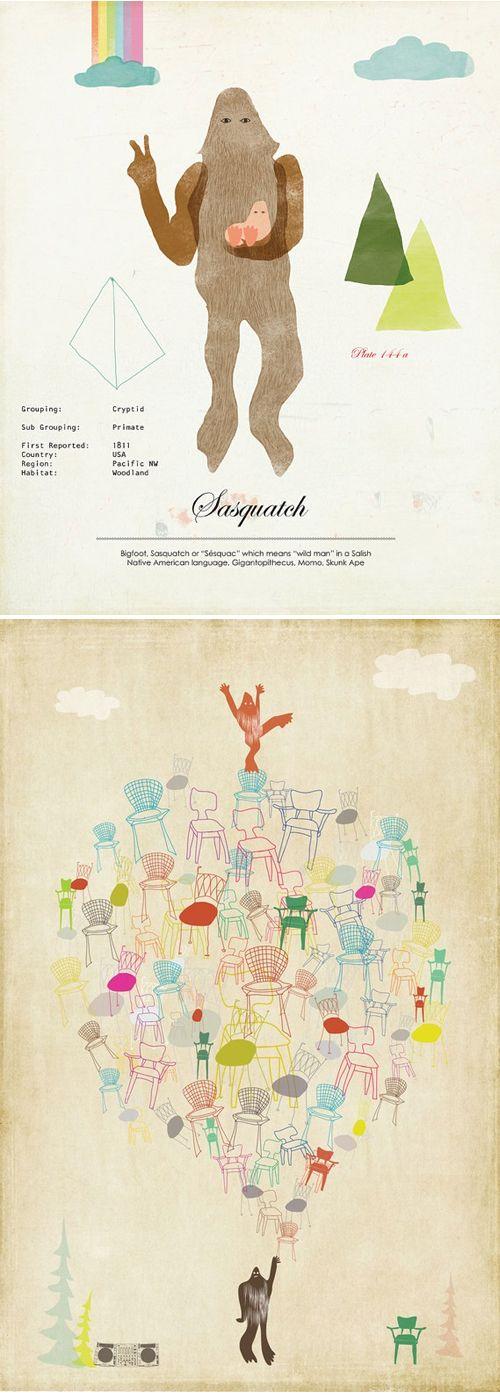 Amy Sullivan | Sasquatch: Bigfoot, Eames Chairs, Fabulous Illustration, Chairs Reminds, Sullivan Sasquatches, Hand Drawn Eames