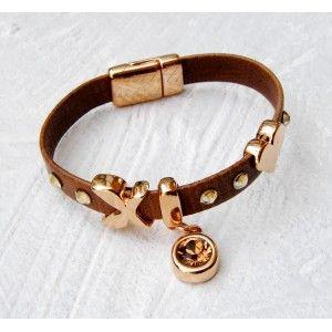 Flat Brown Leather & Heart Bracelet #leather #bracelet