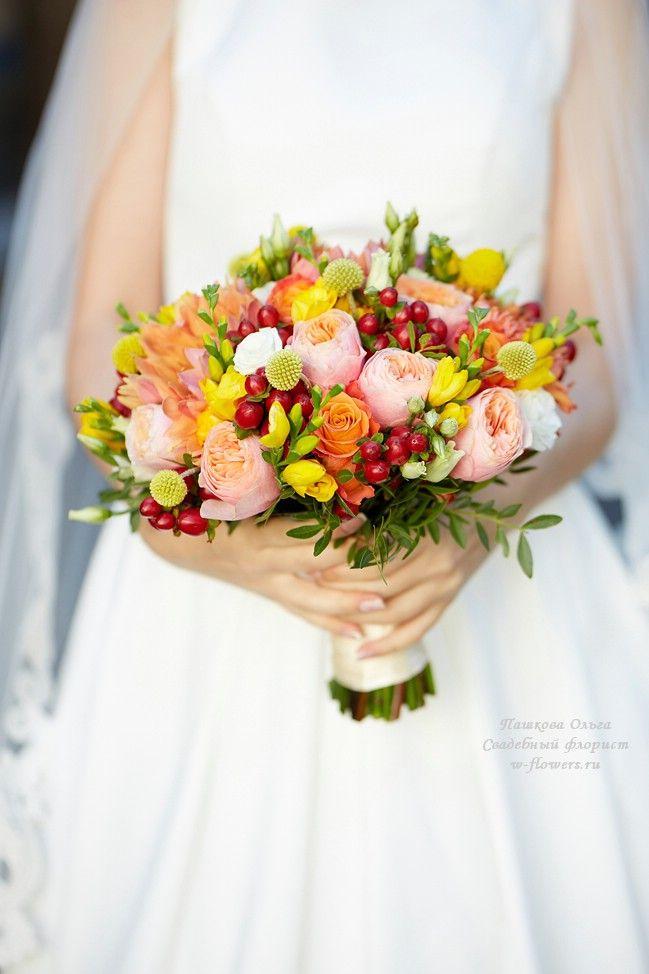 Осенний букет невесты с пионовидными розами #букет #невеста #осенний