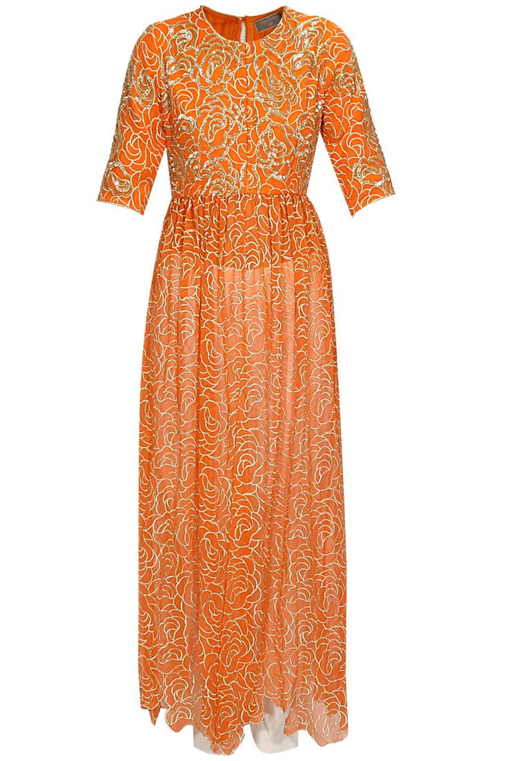 Orange zari embroidered kurta with ivory pants available only at Pernia's Pop Up Shop.