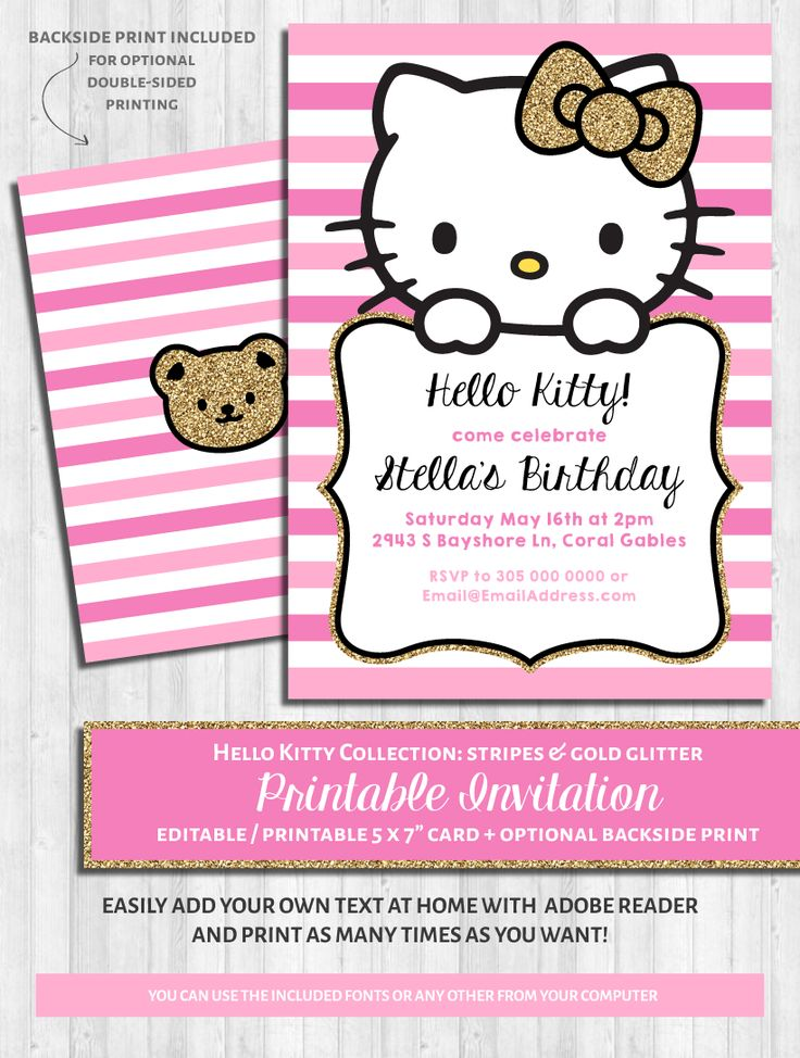 Hello Kitty Party Invitations: Pink & Gold Glitter Baby Shower Birthday Printable