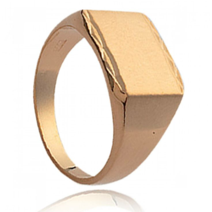 Men gold plated Ioanina rectangles signet rings