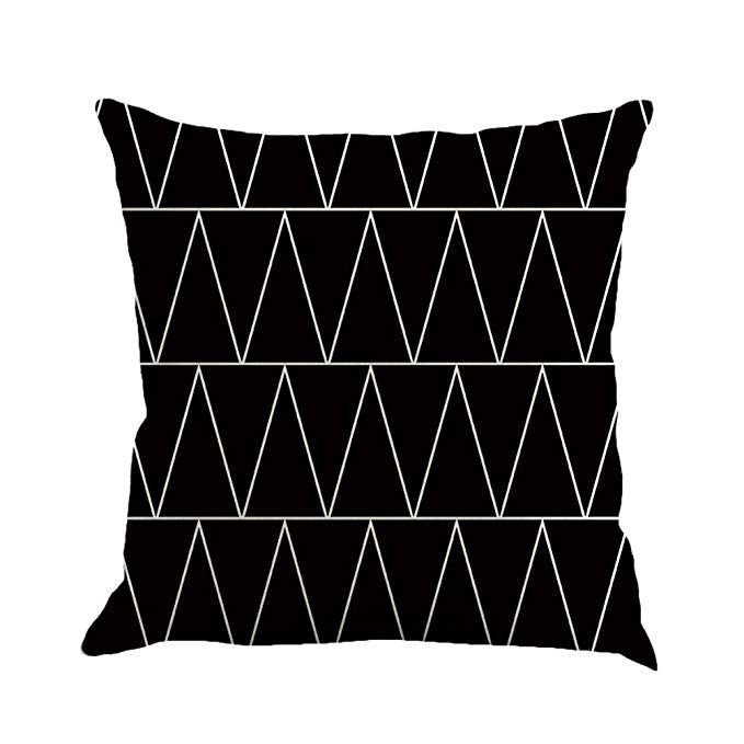 SUNONE11 White Chevron Zig Zag Pillow Cover Pillowcase Pillow Protector Cushion Cover Only Cover No Insert 17.71 x 17.71 Inch