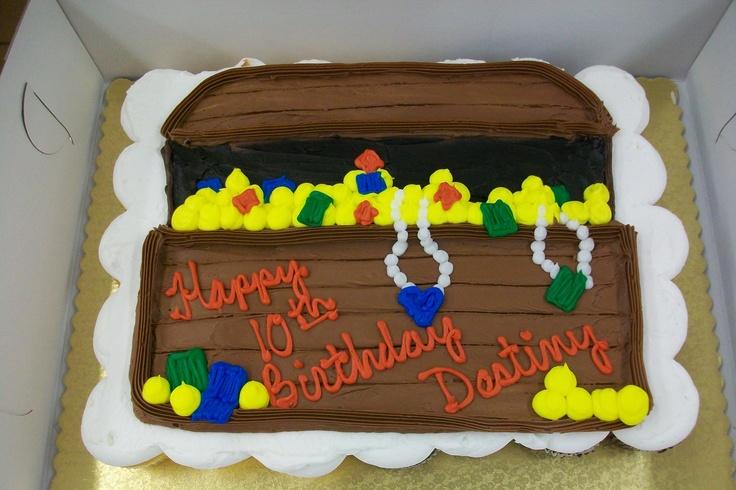 pirate sheet cakes for kids   Treasure Chest Birthday Cakes Half Sheet Cake