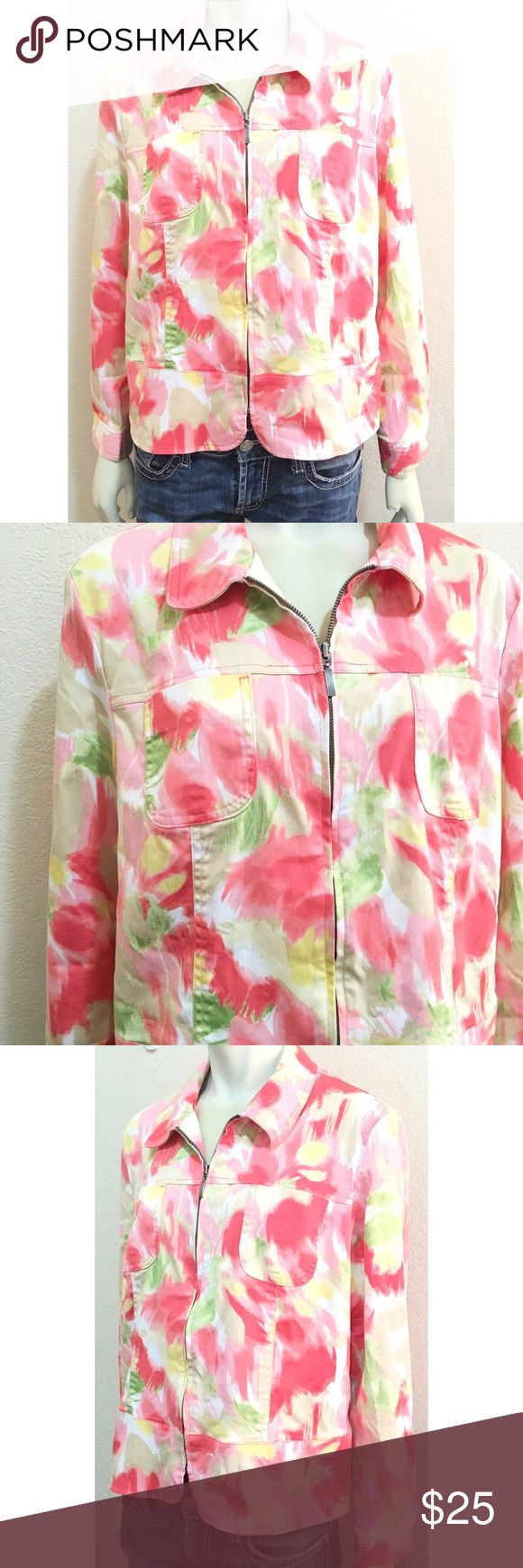 """JM Collection Size 14 Floral Zip Up Jacket GUC floral zip up jacket by JM Collection. Two flaws - missing the buttons at the wrist cuffs (you can roll up or replace the buttons) and has a very thin two inch long gray mark on the front left upper arm. I have not attempted to clean this and there is a very good chance it will come out in the wash. 64% cotton/33% nylon/3% spandex. Measurements (all approximates): neck to bottom hem length 23"""", armpit to wrist 17"""", armpit to armpit lying flat…"""