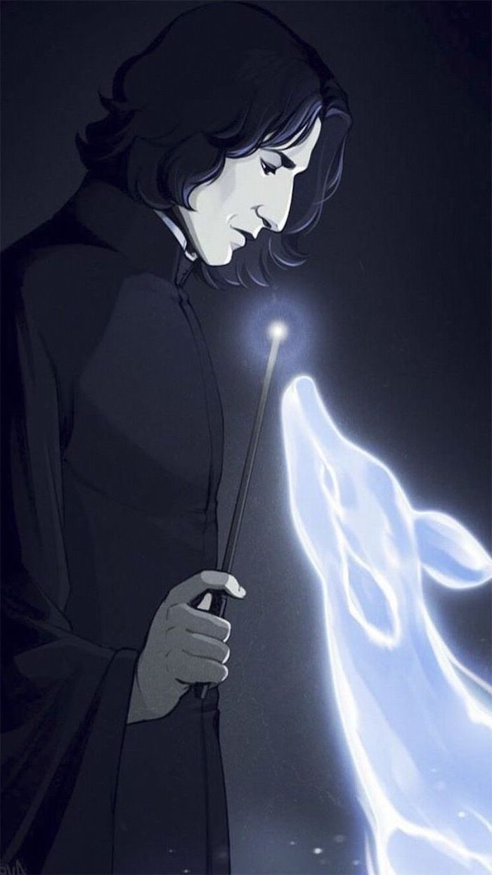 Painting Of Snape Producing Expecto Patronum Charm Harry Potter Wallpaper Hd Black Background In 2020 Harry Potter Wallpaper Harry Potter Phone Harry Potter