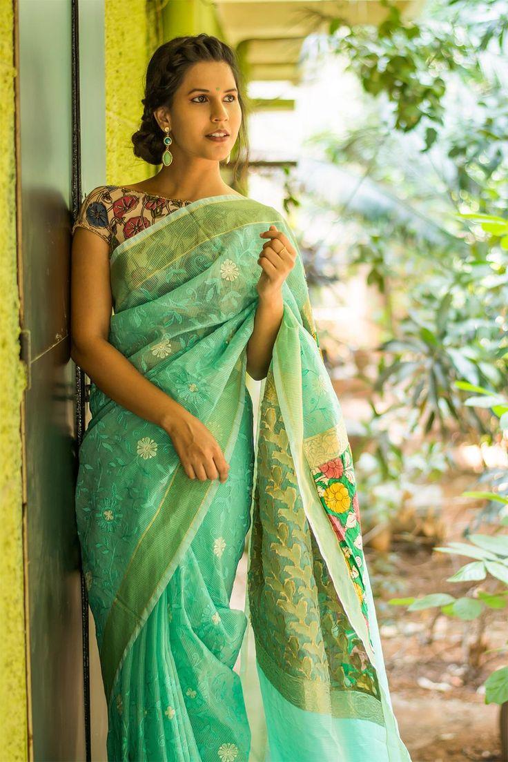 Sea green chanderi kota saree with threadwork and rich handpainted Kalamkari pallu  #saree #blouse #houseofblouse #indian #bollywood #style #seagreen #chanderi #kota #white #threadwork #hanpainted #kalamkari #pallu