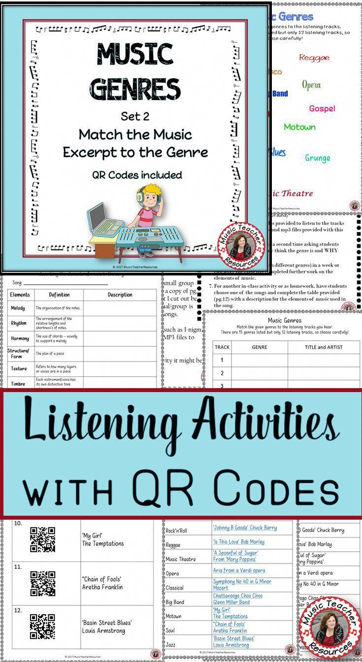 Music Genres Listening Activities With Qr Codes For Middle School Music Set 2 Click Through T Middle School Music Music Lessons For Kids Music Curriculum