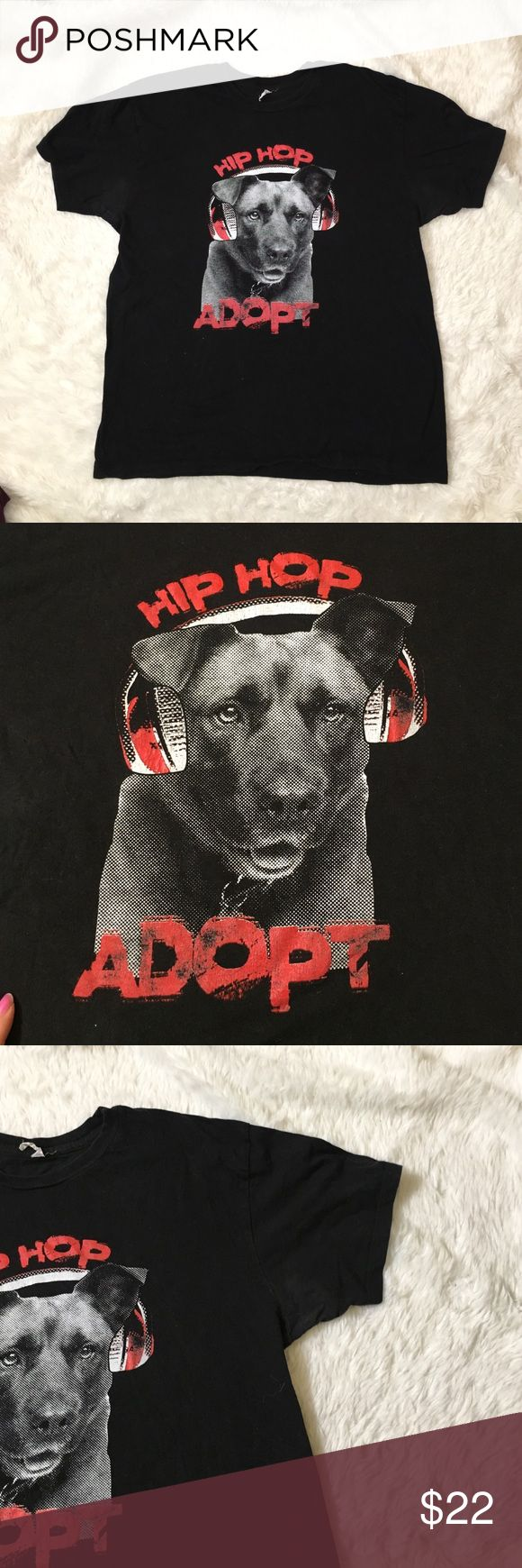 Hip pop adopt dog black tee Black dog tee with the saying hip pop adopt. Support adoption alstyle Shirts Tees - Short Sleeve