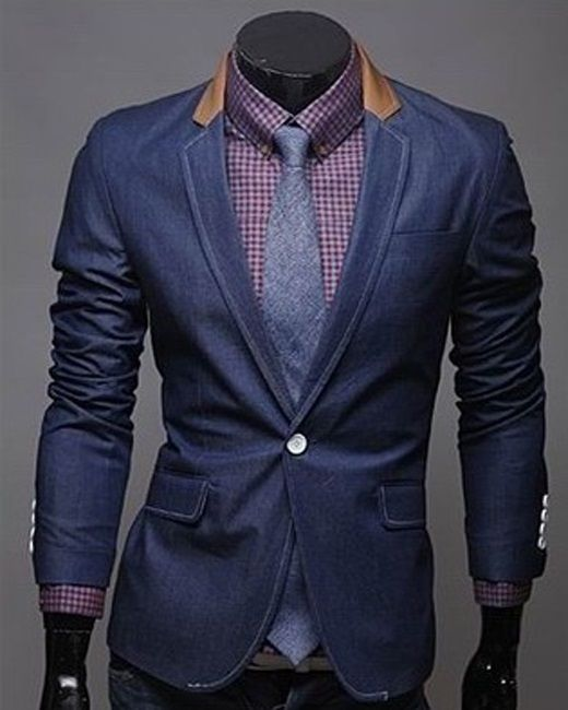 Mens Blazers Fashionable Single Button Jean Leisure Men Suits