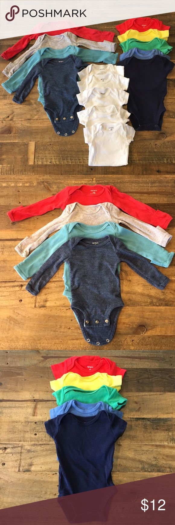 Lot of newborn solid color onesies. Variety of solid color onesies. All newborn size. Four colored long sleeve with optional roll over mittens, five colored short sleeve onesies, and five white onesies. Great condition. Gently used. Carter's Other