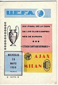 AC Milan 4 Ajax 1 in May 1969 in Madrid. Programme cover for the European Cup Final.