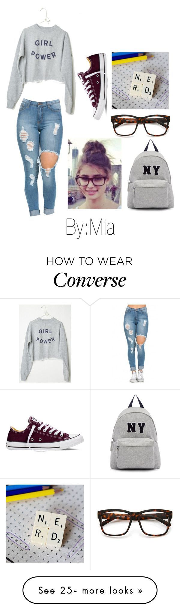 """""""Girl nerd power ✌️"""" by cookiejoint on Polyvore featuring Converse, Joshua's, women's clothing, women, female, woman, misses and juniors"""