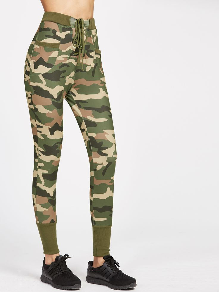 Shop Camo Print Ribbed Trim Lace Up Skinny Pants online. SheIn offers Camo Print Ribbed Trim Lace Up Skinny Pants & more to fit your fashionable needs.
