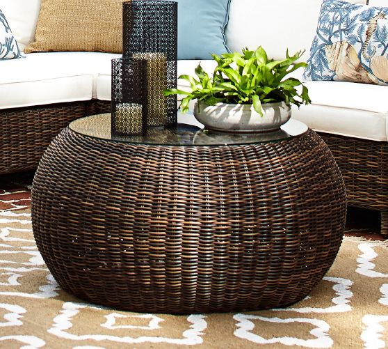 Torrey all weather wicker round coffee table pottery barn sun porch pinterest poufs Rattan round coffee table