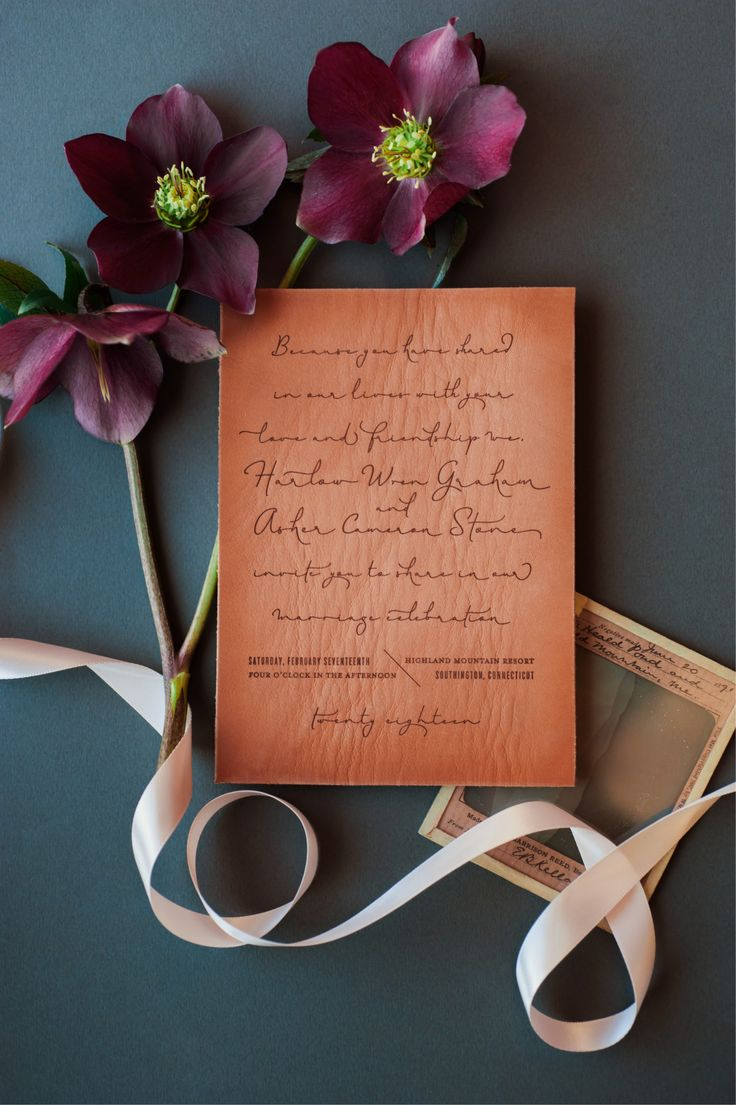 Copper and Leather Wedding Invitation Inspiration by Coral Pheasant / Photo by Charlotte Jenks Lewis / Oh So Beautiful Paper