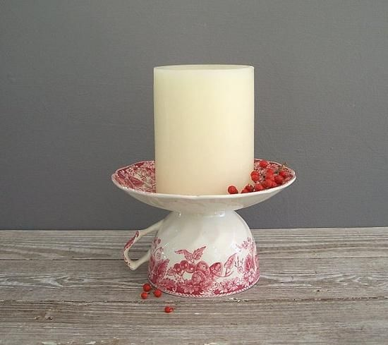 SIMPLE  and so cute ! With a Heavy duty Glue , put the cup and saucer together to make a ... Candle Holder. GREAT Idea to use up old or chipped China.... or  hit the Thrift Stores !