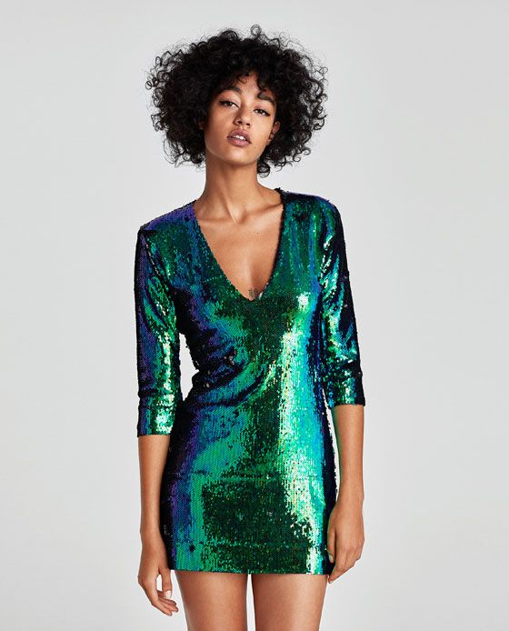 Image 2 of TWO-TONE SEQUINNED DRESS from Zara
