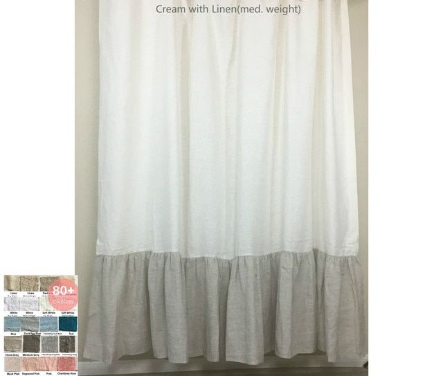 Linen Shower Curtain With Color Block Mermaid Long Ruffles Pick