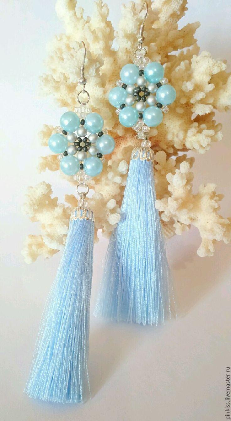 Купить Серьги кисти Небеса - голубой, серьги голубые, серьги длинные, серьги кисти