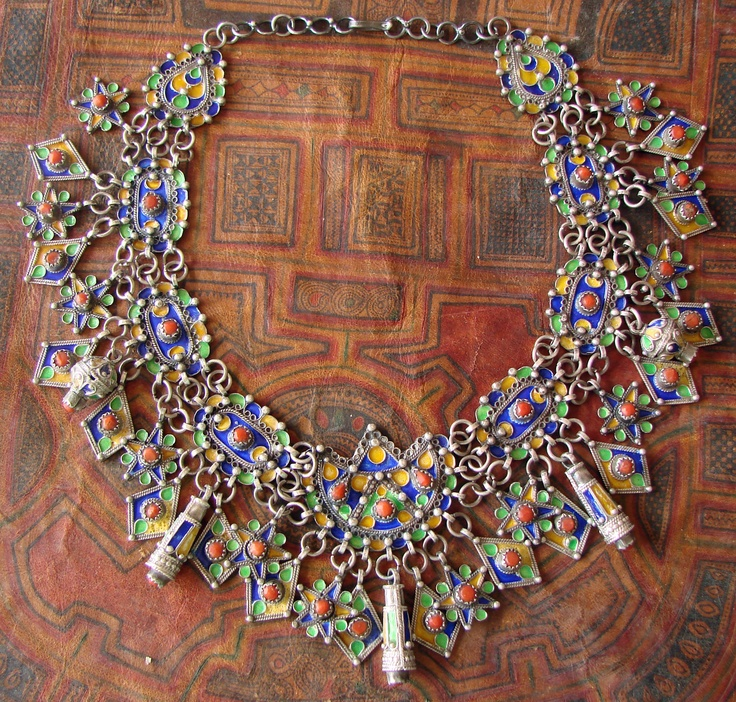 Africa | Kabyle necklace; silver, coral and enamel  | ©Hillary Louarti