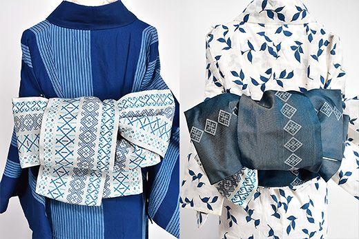 博多の献上縞に東欧のリネンのチュニックを彩る刺繍飾りを思わせるエスニックなアレンジをプラスしたような装飾ボーダーが織りだされた半幅帯です。