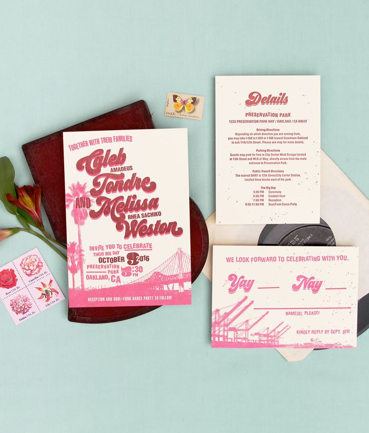 custom wedding invitations new york city%0A California cool and   s soul funk vibes collide in this letterpress custom  wedding invitation   Anticipate