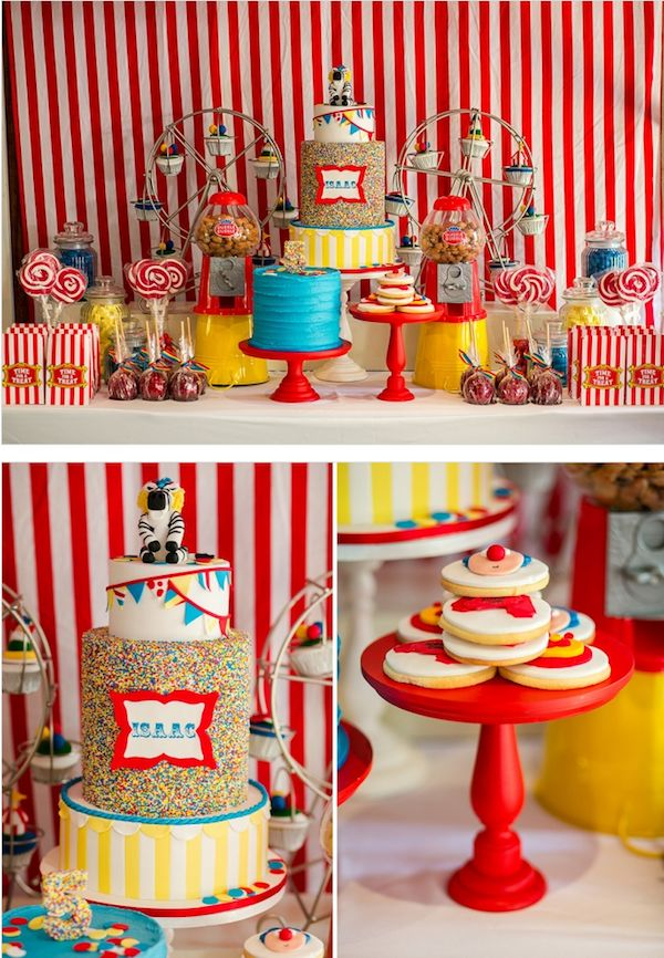 TABLE SETUP: soooo great! Striped background, bold red cake stands, large sprinkle cake, TWO ferris wheel cupcake stands, and my favorite swirl lollipops