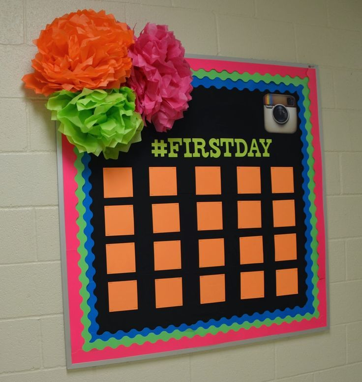 I LOVE this!! She has the #firstday hashtag up for, obviously, the first of the school year. She's going to take a picture of each student and put their it on the board. Then she'll change the hashtag and pictures throughout they year. SO cute!!