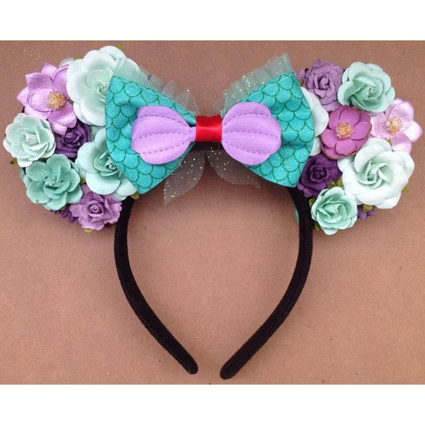 Ariel Floral Minnie Mouse Ears Purple Mint Disney Headband ($44) ❤ liked on Polyvore featuring accessories, hair accessories, disney headbands, floral headbands, disney, hair band headband and headband hair accessories