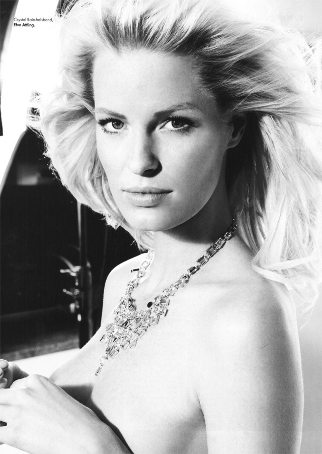 Swedish super model Caroline Winberg wearing the couture piece Crystal Rain from Efva Attling in the April issue of Swedish magazine Plaza Kvinna.