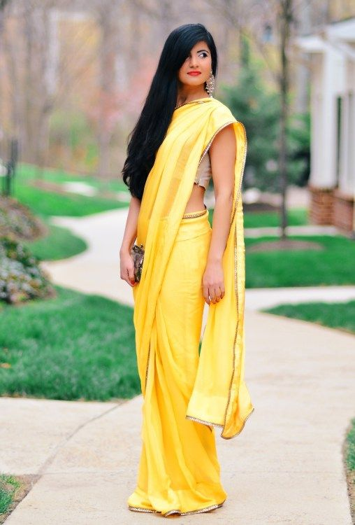 Yellow Saree & Gold lace