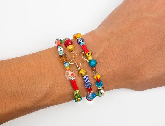 African beads  wrap bracelet beaded bracelet by ErikaKormaDesigns