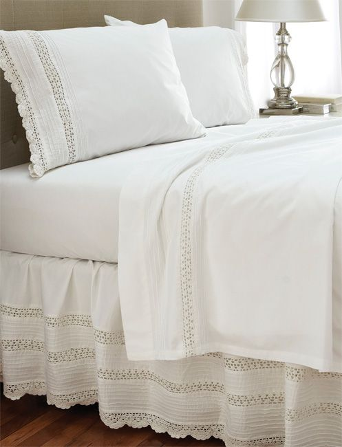 <p><strong>Sheet Set:</strong>The vintage charm of crocheted edging lends an heirloom quality to this cotton sheet set. Set includes one flat and one fitted sheet; twin set has one standard case; full and queen have two standard cases; king set has two king cases. Add matching bed skirt to complete the look. In white. Pure 200-thread-count cotton. Washable. Imported.</p>  <p><strong>Crochet BedSkirt:</strong> This pure cotton bedskirt, with its delicate crochet needlework detailing, adds a…