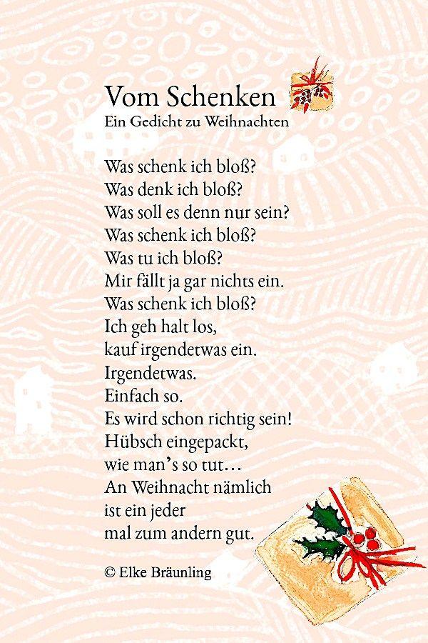 Vom Schenken | Gedicht weihnachten, Kindergedichte