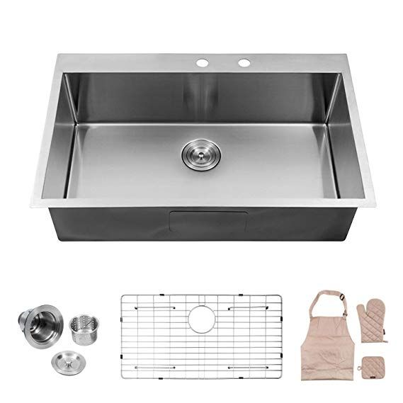 Lordear Kitchen Sink Lt3322r1 33 X 22x 10 Inch Drop In Topmount 16 Gauge R10 Tight Radius Stainle Stainless Steel Kitchen Sink Steel Kitchen Sink Steel Kitchen